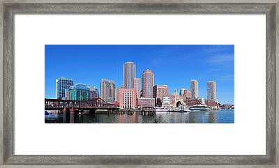 Boston Skyline Over Water Framed Print