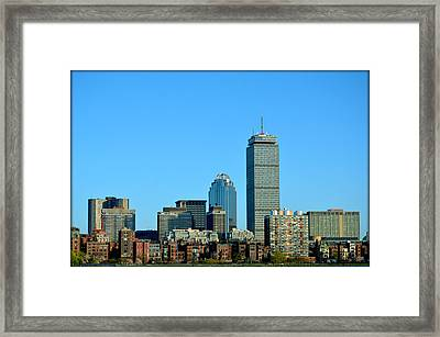 Framed Print featuring the photograph Boston Skyline Prudential Tower by Amanda Vouglas