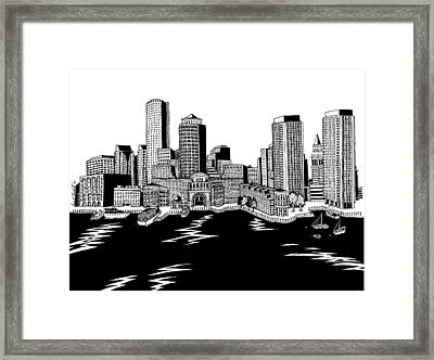 Boston Skyline Rowes Wharf Framed Print by Conor Plunkett
