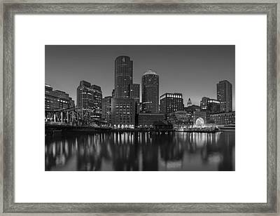 Boston Skyline Seaport District Bw Framed Print