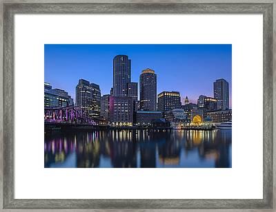 Boston Skyline Seaport District Framed Print