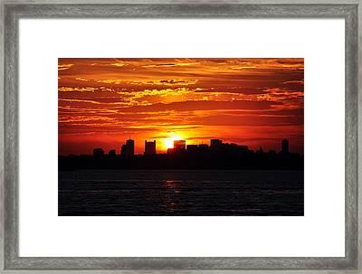 Boston Skyline Sunset Framed Print