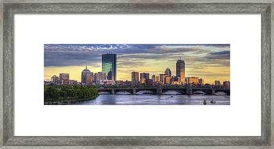 Boston Skyline Sunset Over Back Bay Panoramic Framed Print