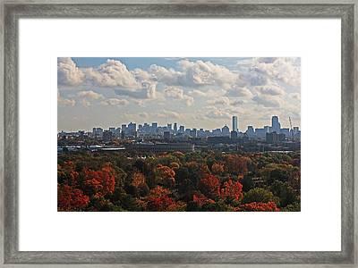 Boston Skyline View From Mt Auburn Cemetery Framed Print by Michael Saunders