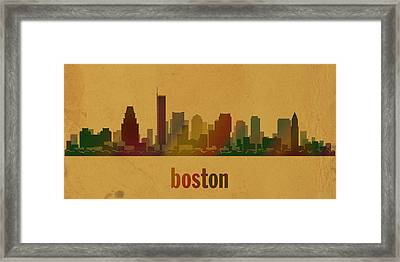 Boston Skyline Watercolor On Parchment Framed Print