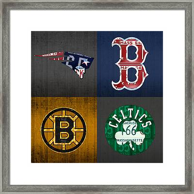 Boston Sports Fan Recycled Vintage Massachusetts License Plate Art Patriots Red Sox Bruins Celtics Framed Print