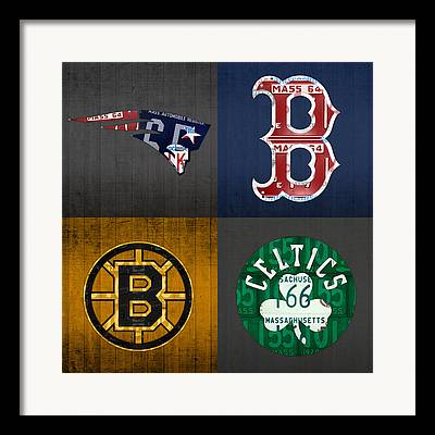 Red Sox Mixed Media Framed Prints