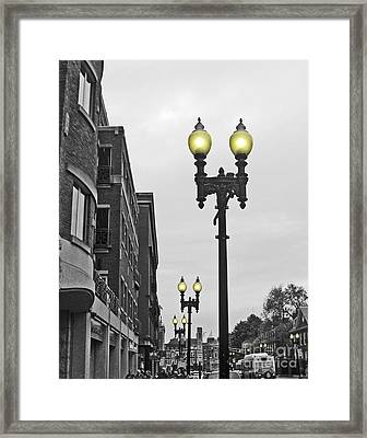 Framed Print featuring the photograph Boston Streetlamps by Cheryl Del Toro