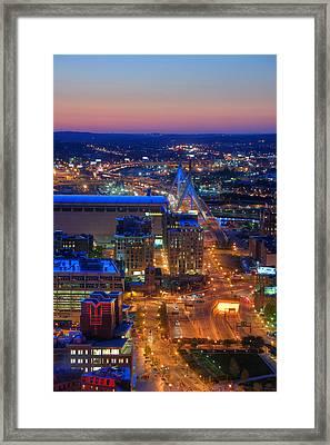 Boston Sunset Aerial View Framed Print by Joann Vitali