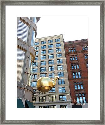 Framed Print featuring the photograph Boston Teapot - Color by Cheryl Del Toro