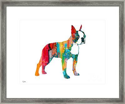 Boston Terrier 2 Framed Print by Watercolor Girl