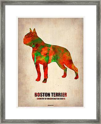 Boston Terrier Poster Framed Print by Naxart Studio