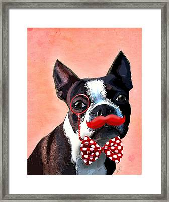 Boston Terrier Small Red Moustache Framed Print by Kelly McLaughlan