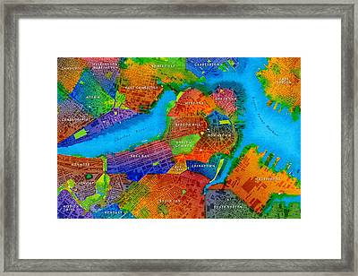 Boston Watercolor Map Framed Print by Paul Hein