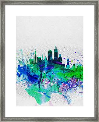 Boston Watercolor Skyline Framed Print by Naxart Studio