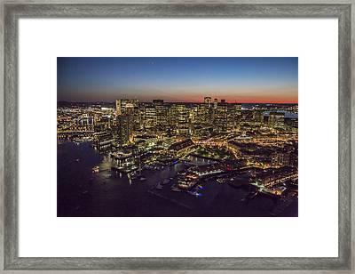 Boston Waterfront At Night. Framed Print