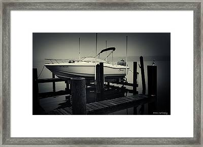 Boston Whaler In The Fog Framed Print