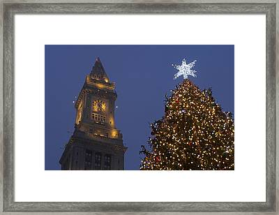 Boston Wishing You A Merry Christmas  Framed Print