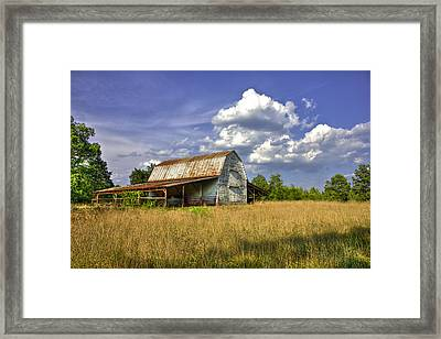 Boswell White Barn And The Afternoon Sun Framed Print by Reid Callaway