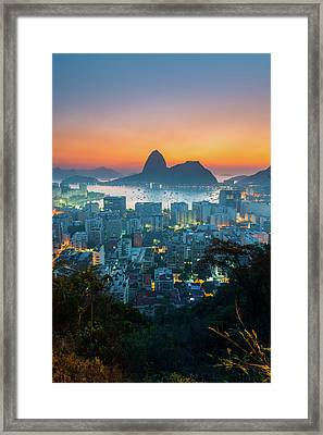 Botafogo Bay With Sugar Loaf At Sunrise Framed Print by Flavio Veloso