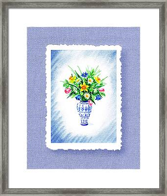 Botanical Impressionism Flowers Bouquet Framed Print