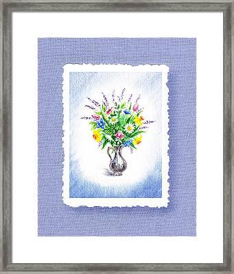 Botanical Impressionism Watercolor Bouquet Framed Print