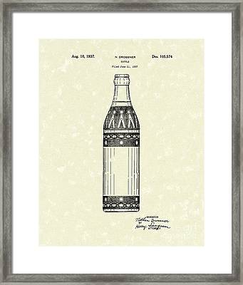 Bottle 1937 Patent Art Framed Print by Prior Art Design