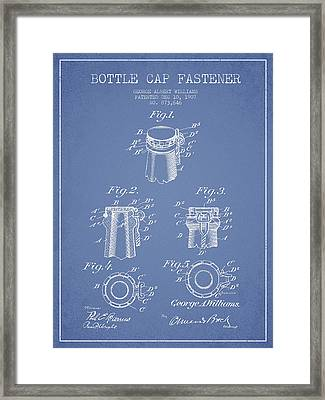 Bottle Cap Fastener Patent Drawing From 1907 - Light Blue Framed Print by Aged Pixel
