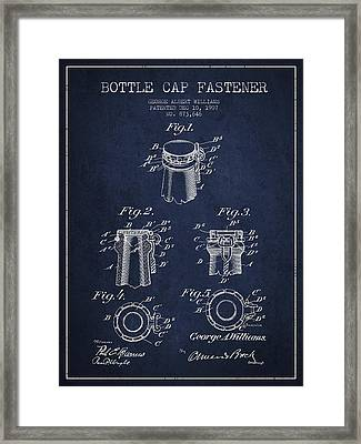Bottle Cap Fastener Patent Drawing From 1907 - Navy Blue Framed Print by Aged Pixel