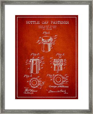 Bottle Cap Fastener Patent Drawing From 1907 - Red Framed Print by Aged Pixel