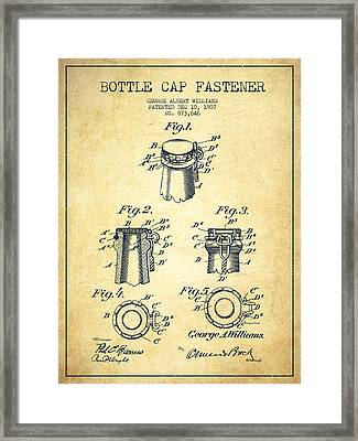 Bottle Cap Fastener Patent Drawing From 1907 - Vintage Framed Print by Aged Pixel