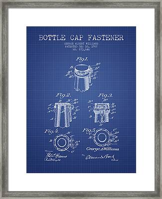 Bottle Cap Fastener Patent From 1907- Blueprint Framed Print by Aged Pixel
