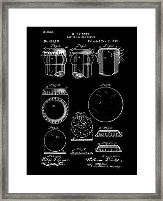 Bottle Cap Patent 1892 - Black Framed Print