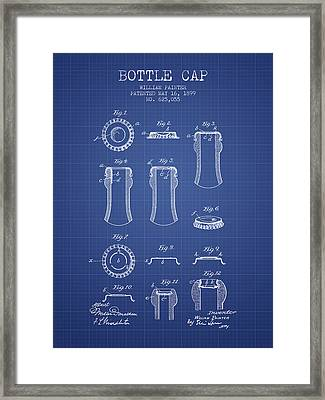 Bottle Cap Patent 1899- Blueprint Framed Print by Aged Pixel