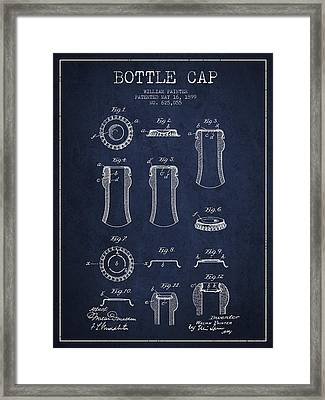 Bottle Cap Patent Drawing From 1899 - Navy Blue Framed Print by Aged Pixel