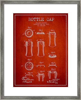 Bottle Cap Patent Drawing From 1899 - Red Framed Print by Aged Pixel