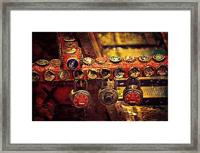 Bottle Caps And Locks Framed Print by Maria Angelica Maira