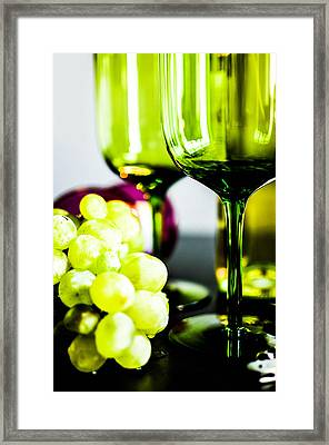 Bottle Glass And Grapes In Delightful Mix Framed Print