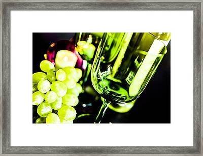 Bottle Glass And Grapes Framed Print