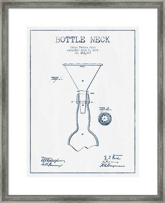 Bottle Neck Patent From 1891 -  Blue Ink Framed Print by Aged Pixel