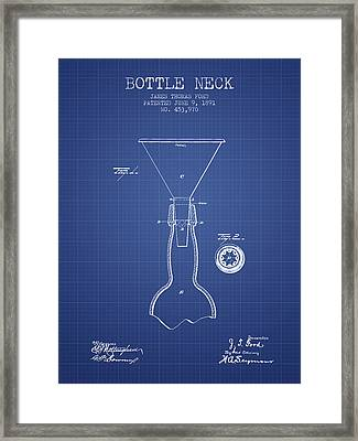 Bottle Neck Patent From 1891 - Blueprint Framed Print by Aged Pixel
