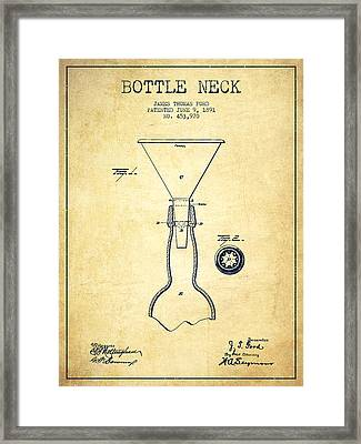 Bottle Neck Patent From 1891 - Vintage Framed Print by Aged Pixel