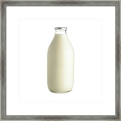 Bottle Of Milk Framed Print by Science Photo Library