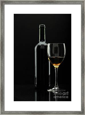 Bottle Of Wine And Wineglass Over Black Framed Print by Josep Maria Penalver