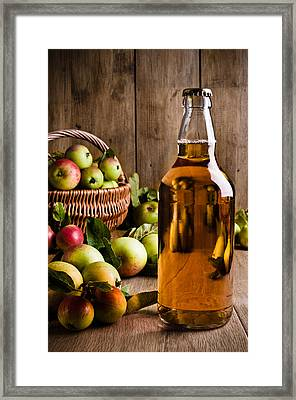 Bottled Cider With Apples Framed Print by Amanda Elwell