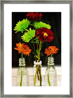 Bottled Flowers Framed Print by Linda Segerson