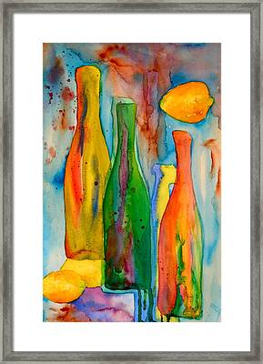 Bottles And Lemons Framed Print by Beverley Harper Tinsley