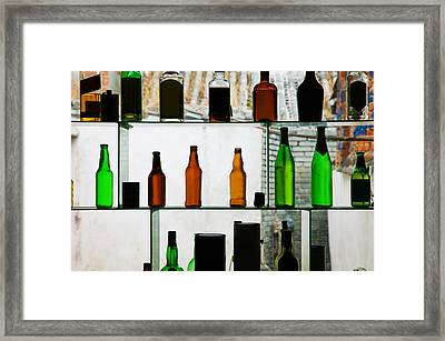 Bottles Displayed At Foreigner Bar, Old Framed Print by Panoramic Images