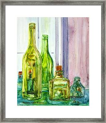 Bottles - Shades Of Green Framed Print