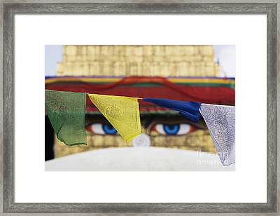 Boudhanath Stupa Prayer Flags Framed Print
